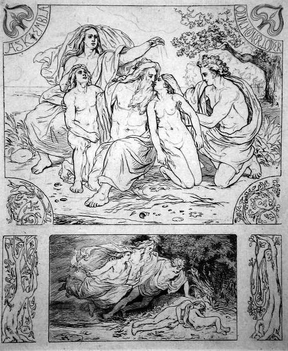 La creazione dell'uomo secondo l'Edda. Illustrazione di Lorenz Frølich (1820-1908)